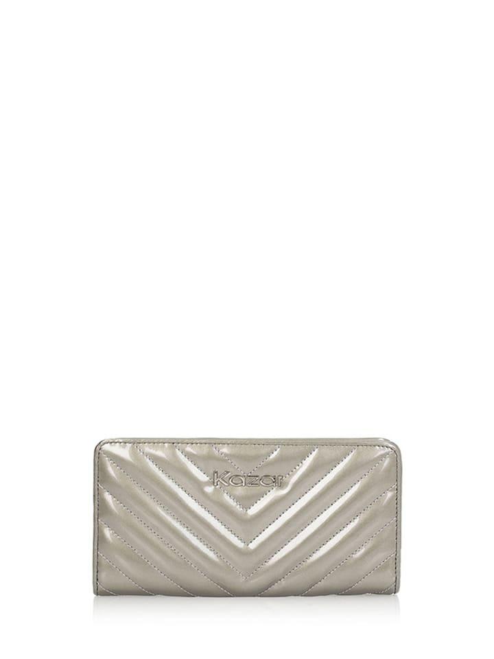 f91ec94b9829b Skórzany portfel w kolorze srebrnym - (S)19 x (W)10 cm - Kazar ...