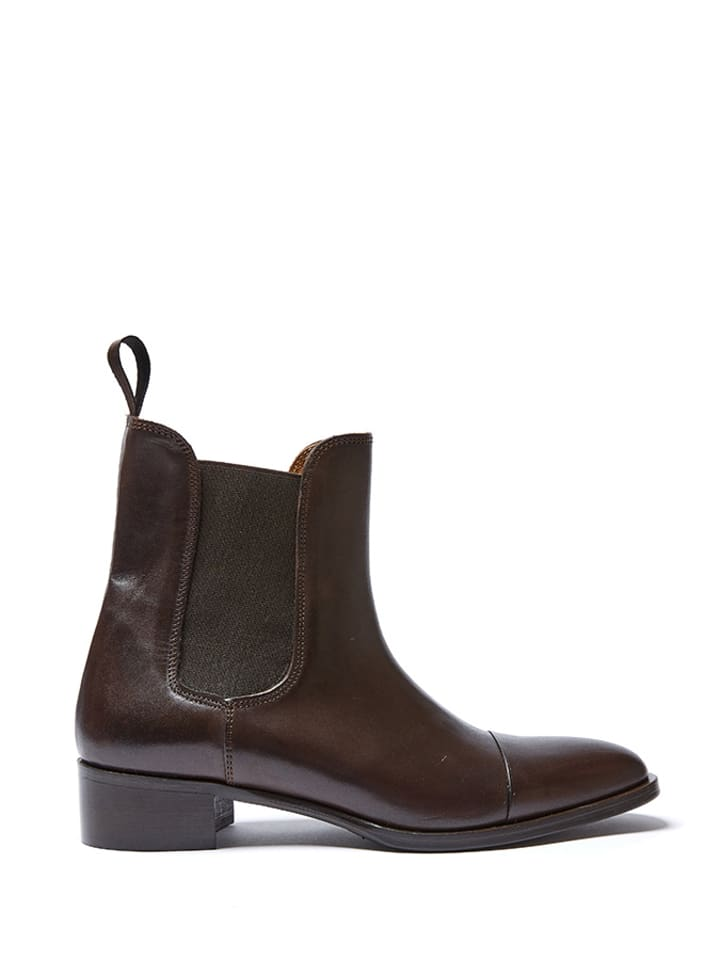 British Passport Leder-Chelsea-Boots in Braun