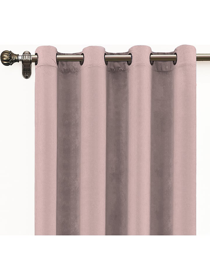 Velvet Atelier Aksamitna zasłona w kolorze różowym - 140 x 260 cm