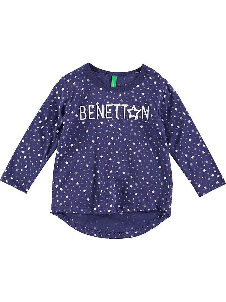 Benetton Koszulka w kolorze granatowo-białym