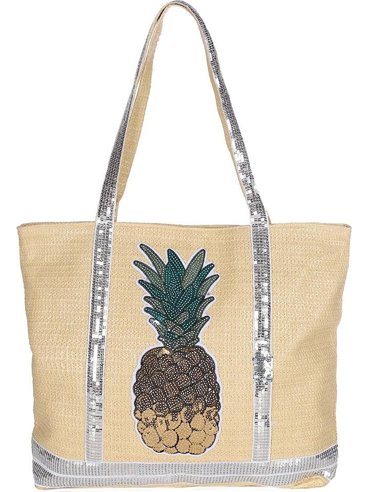 "Zwillingsherz Shopper ""Ananas"" in Beige - (B)50 x (H)40 x (T)9 cm"