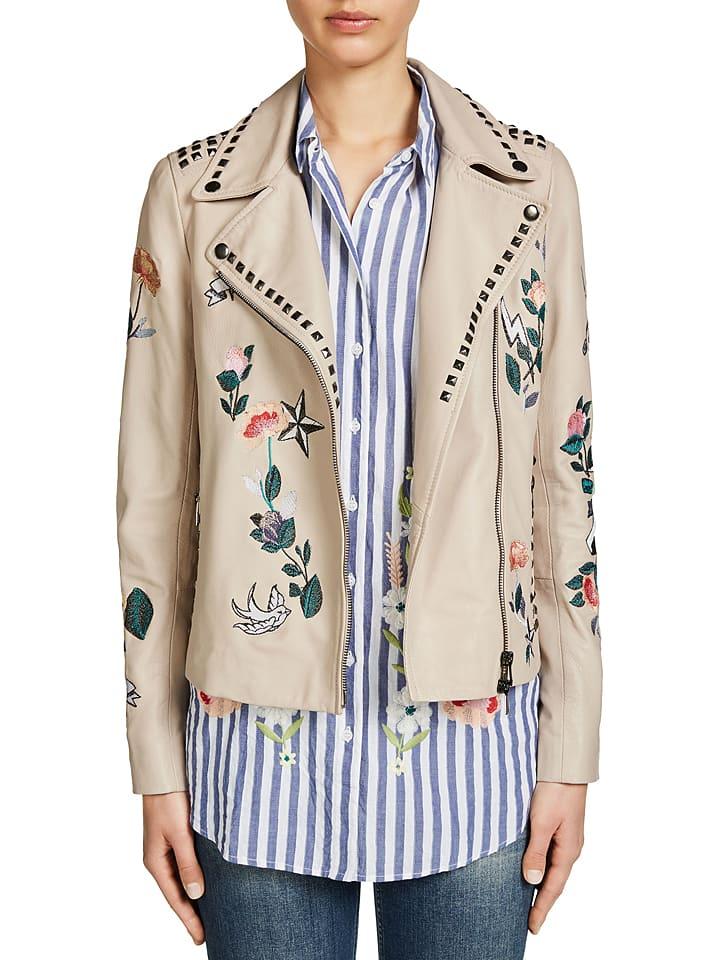 Oui Skórzana kurtka w kolorze jasnoróżowym