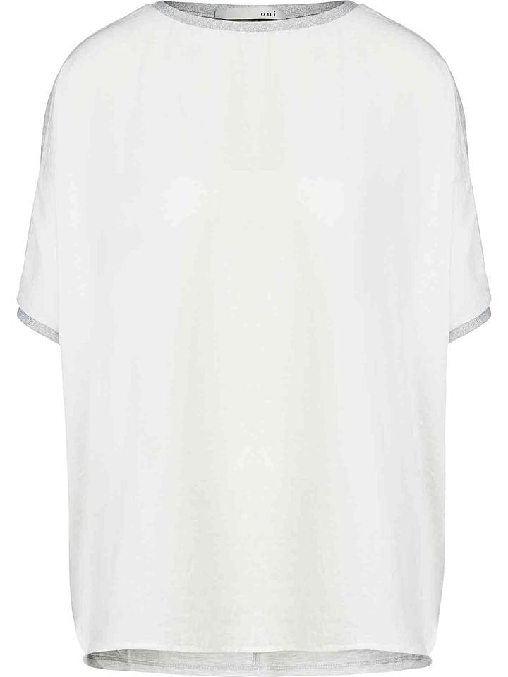 Oui Koszulka w kolorze jasnoszaro-białym