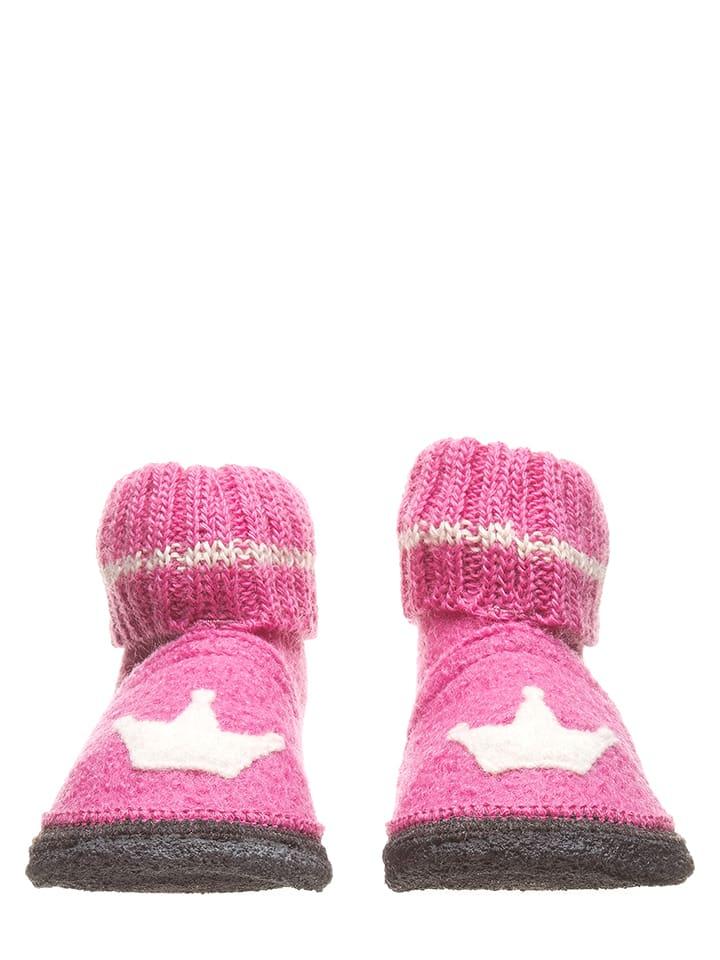 """Lamino Hüttenschuhe """"Krone"""" in Pink"""