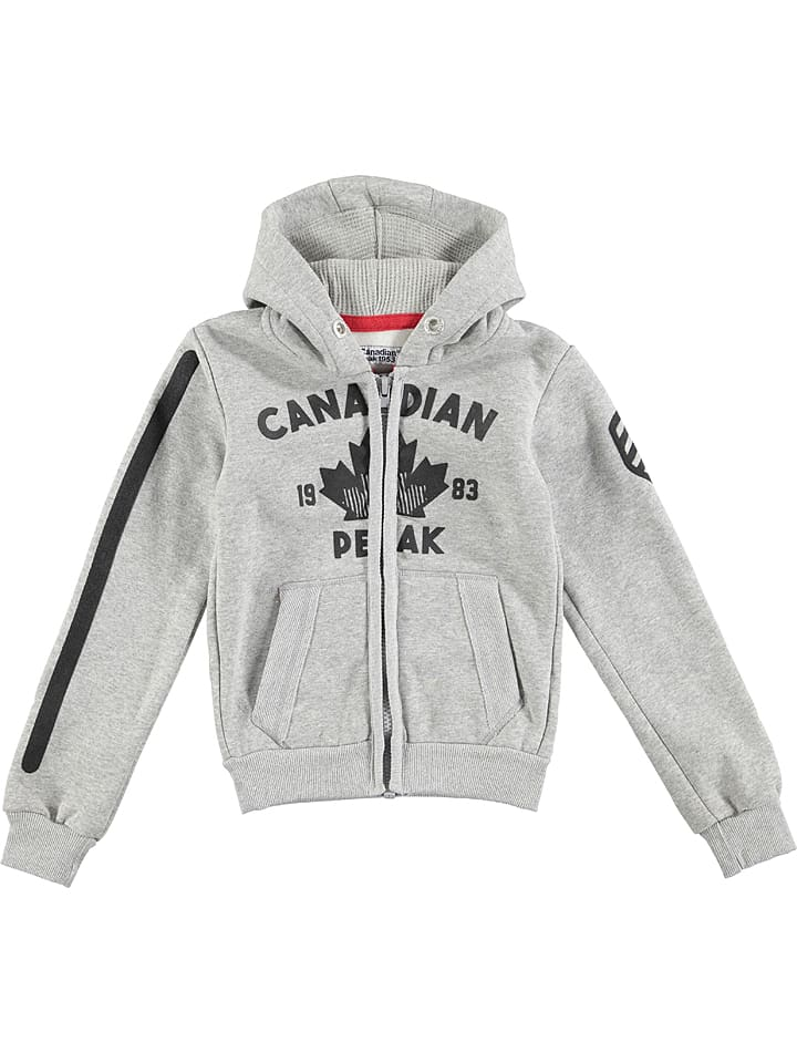 Canadian Peak Kapuzenjacke ´´Foyrider´´ in Grau | 71% Rabatt | Größe 164 | Kinderpullover strick | 03664138161889