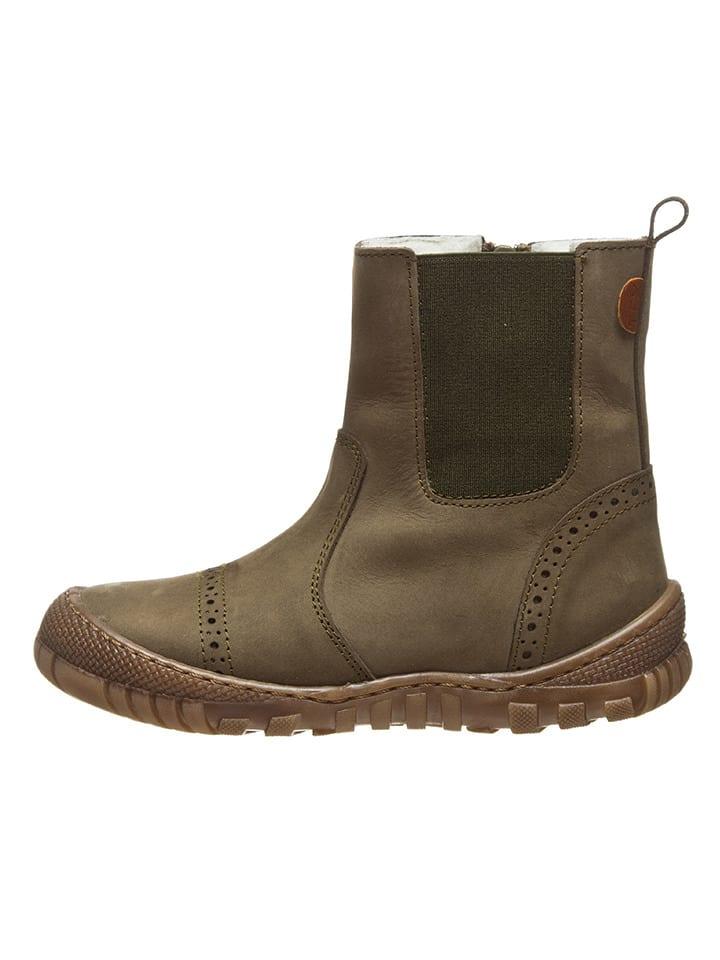 BO-BELL Leder-Chelsea-Boots in Oliv