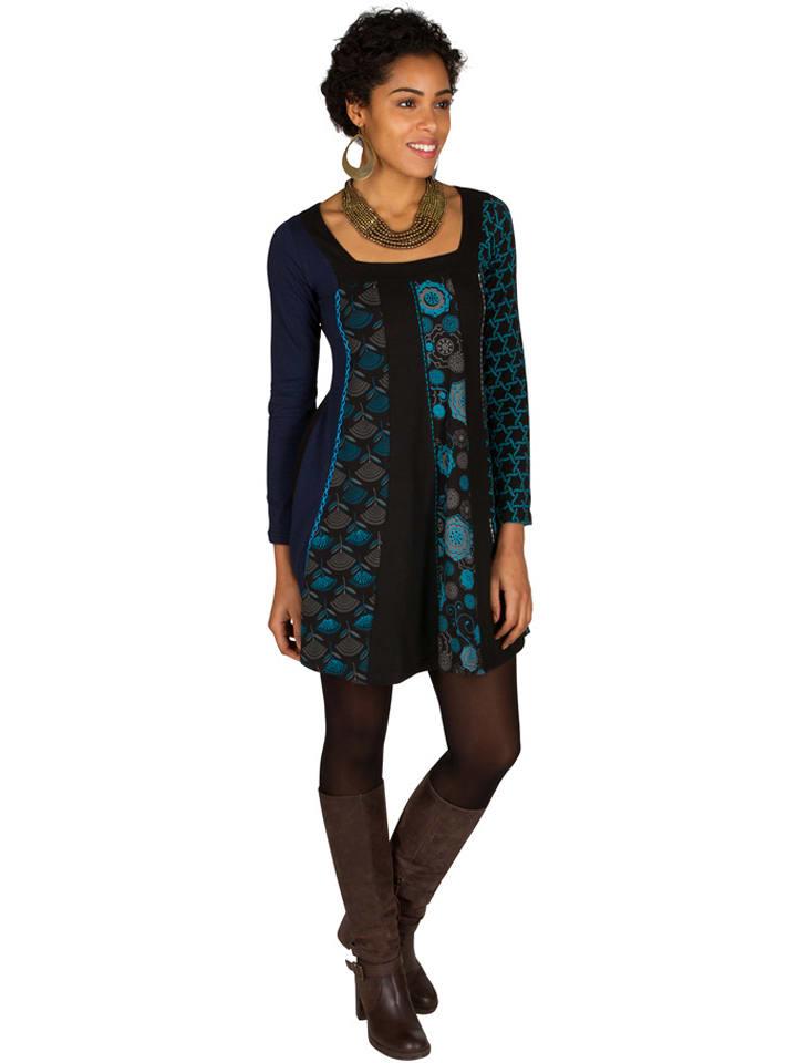 0c6e20f453b Aller Simplement - Robe - noir turquoise