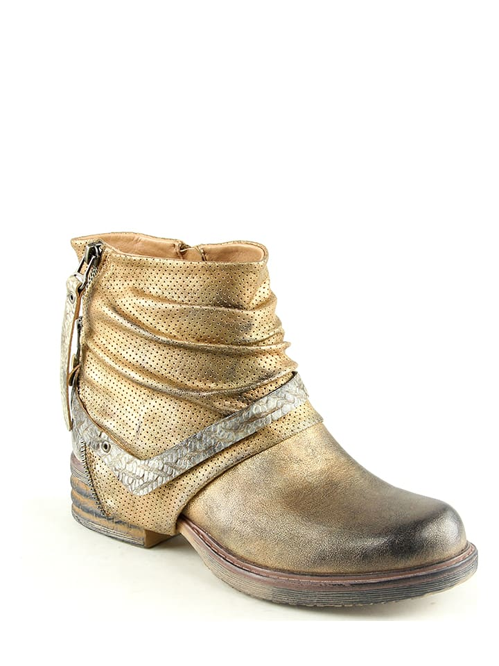 Foreverfolie Ankle-Boots in Gold