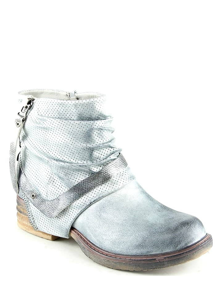 Foreverfolie Ankle-Boots in Silber