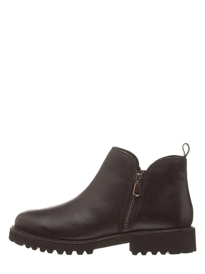 CAFèNOIR Leder-Boots in Schwarz