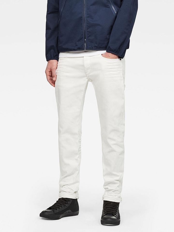 """G-Star Dżinsy """"3301"""" - Slim fit - w kolorze białym"""