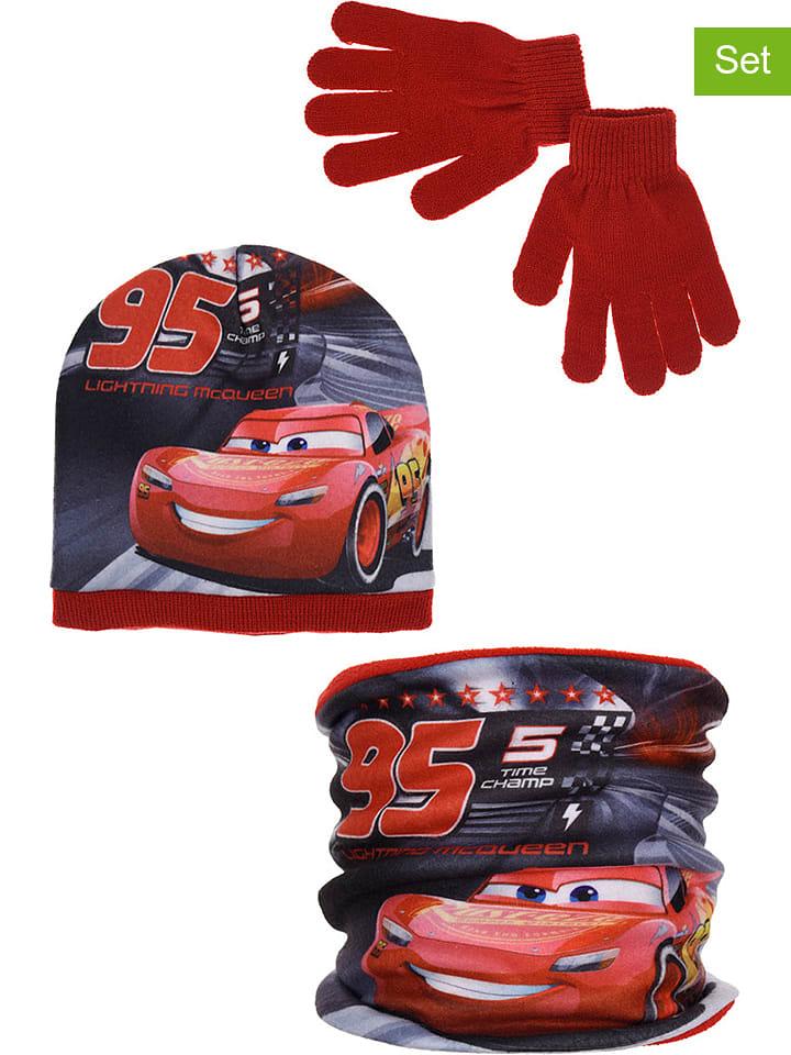 """Disney Cars 3-częściowy zestaw """"Cars"""" w kolorze czerwono-czarnym"""