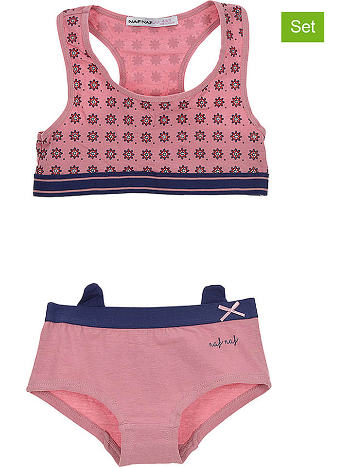 Naf Naf 2tlg. Wäscheset in Pink/ Dunkelblau