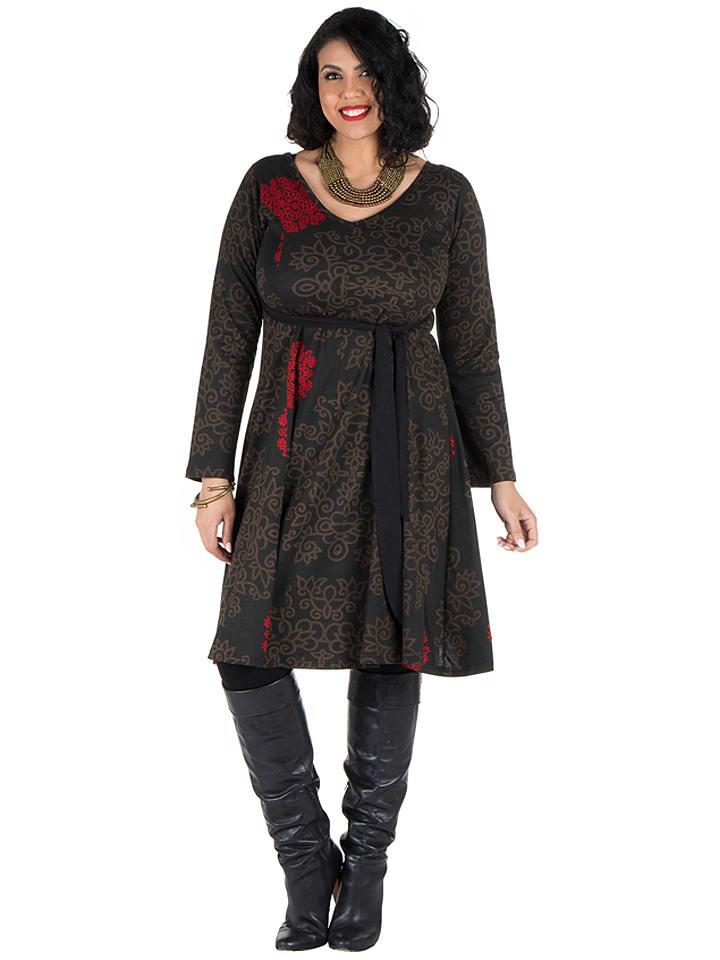 Aller Simplement Sukienka w kolorze czarno-brązowo-czerwonym