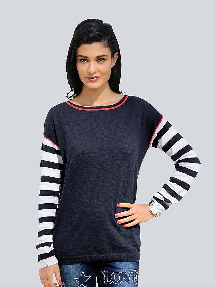 sale retailer 8ca01 afdab Sweter w kolorze granatowo-kremowym - Alba Moda - Wyprzedaż ...