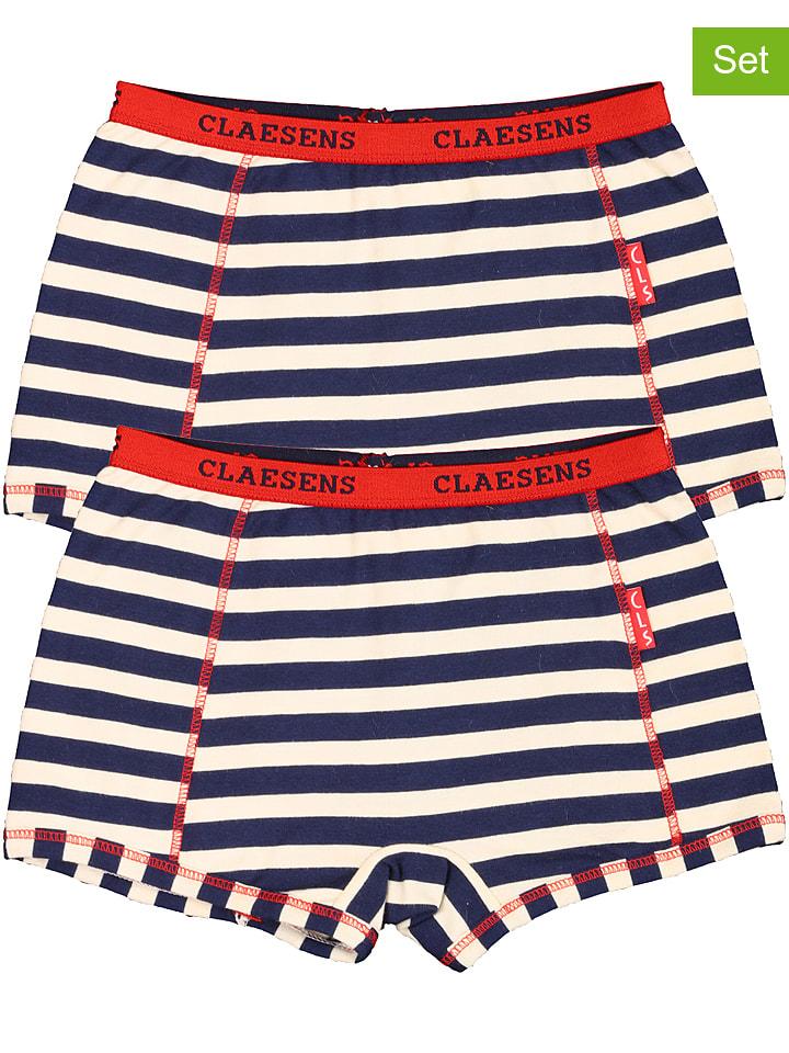 Claesens 2-delige set: boxershorts blauw/rood