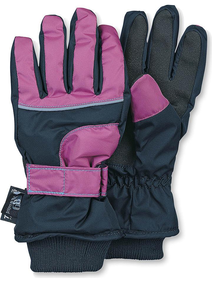 Sterntaler Rękawiczki w kolorze różowo-czarnym