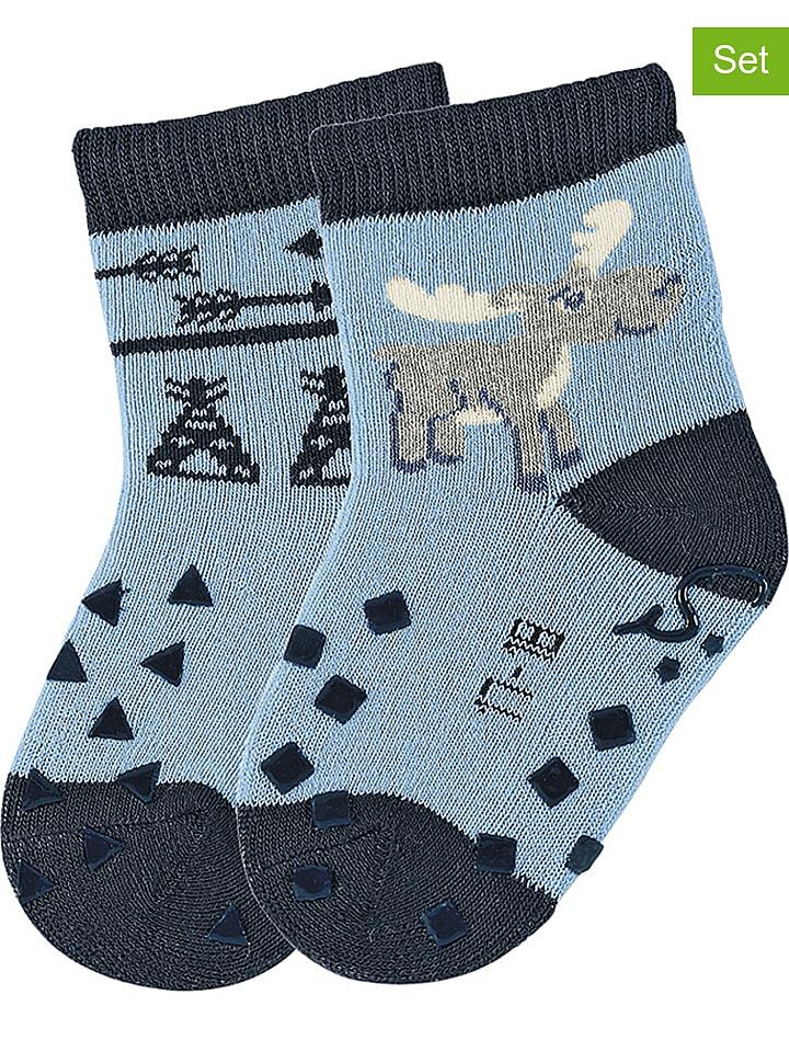 "Sterntaler 2er-Set: ABS-Socken ""Elch"" in Blau"