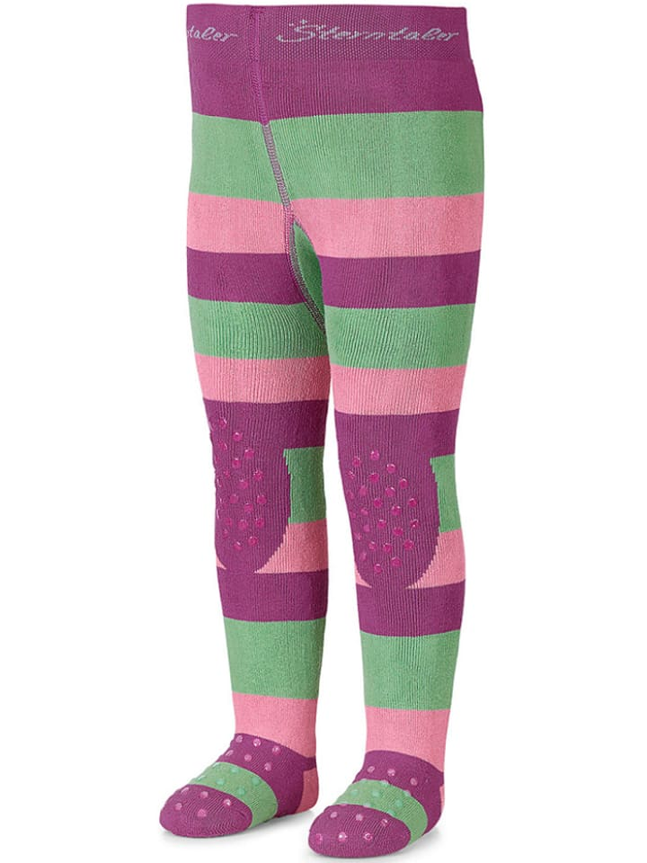 Sterntaler Rajstopy w kolorze różowo-zielonym do raczkowania