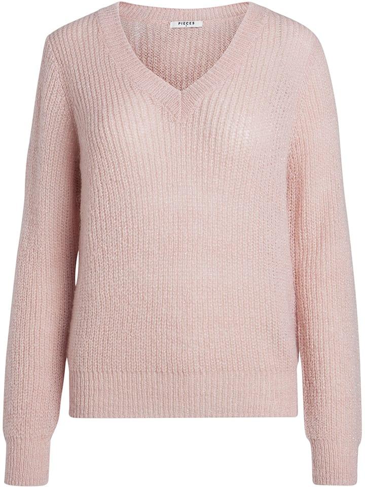 Pieces Sweter w kolorze jasnoróżowym
