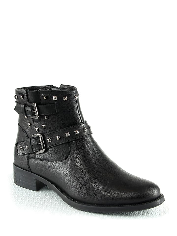 Manoukian shoes Leder-Boots in Schwarz