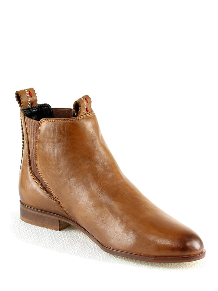 Manoukian shoes Leder-Chelsea-Boots in Hellbraun