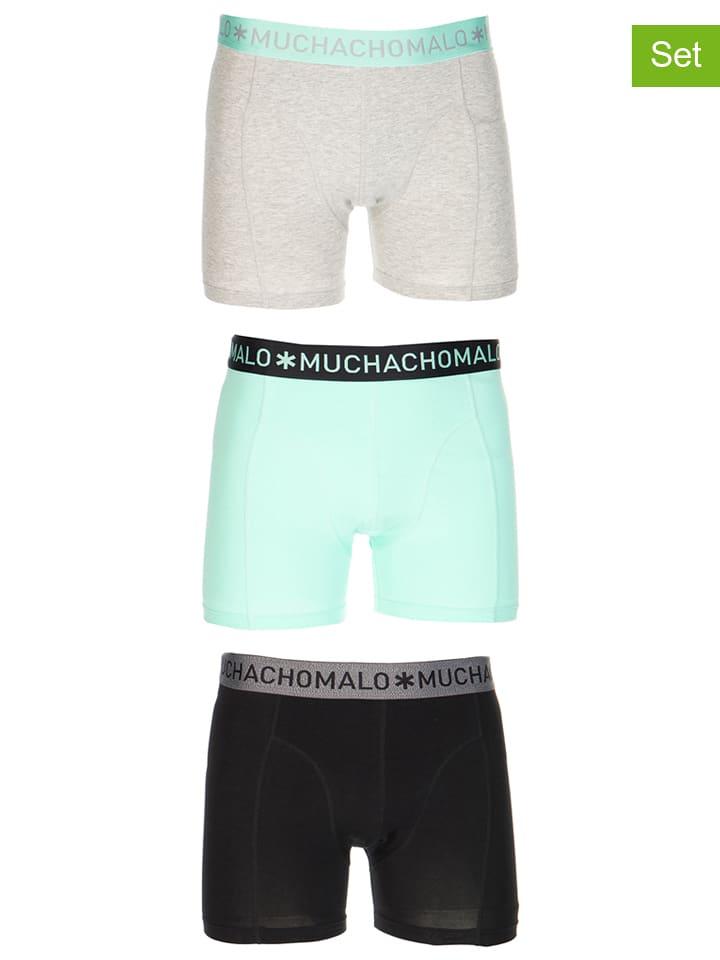 Muchachomalo 3er-Set: Boxershorts in Schwarz/ Mint/ Hellgrau