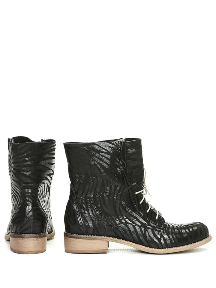 7393e816507589 Zapato - Boots en cuir - noir/fantaisie   Outlet limango