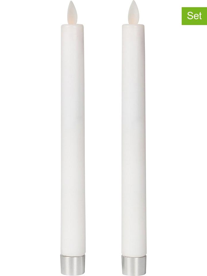 Deco Lorrie Świece LED (2 szt.) w kolorze białym - wys. 24 cm