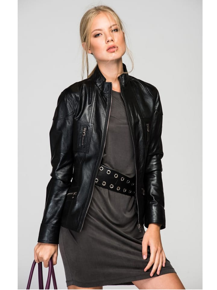 Deda de Luxe Skórzana kurtka w kolorze czarnym