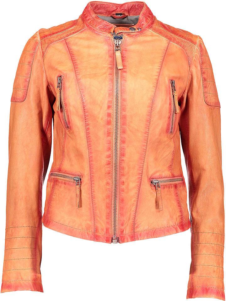 BLUE MONKEY Skórzana kurtka w kolorze pomarańczowym