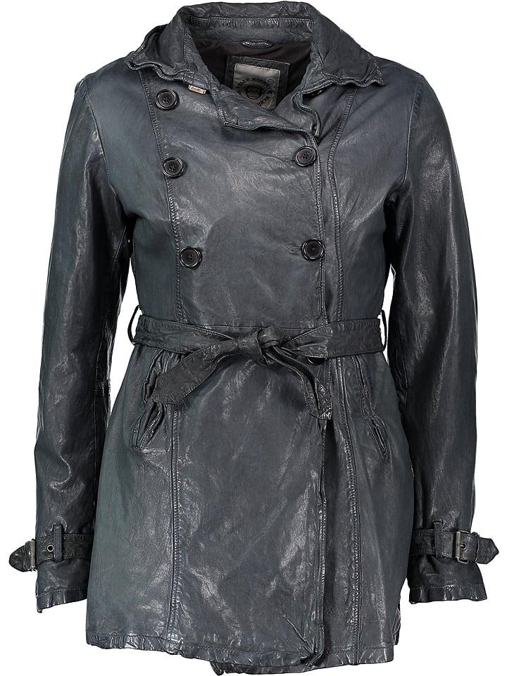 BLUE MONKEY Skórzany płaszcz w kolorze granatowym