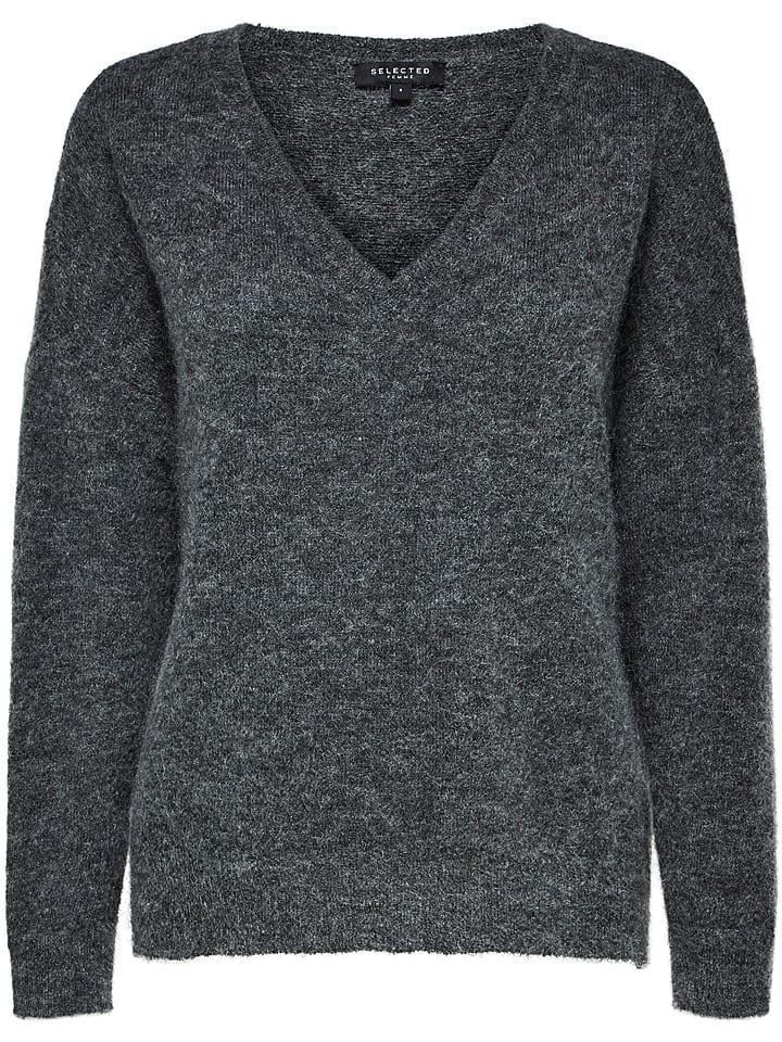 SELECTED FEMME Sweter w kolorze szarym