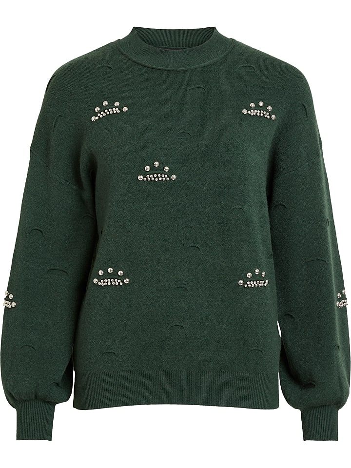 """Object Sweter """"Lilya"""" w kolorze ciemnozielonym"""