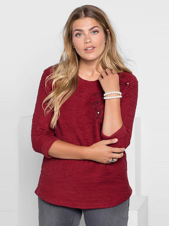 Sheego Sweter w kolorze czerwonym