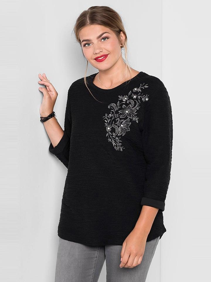 Sheego Sweter w kolorze czarnym