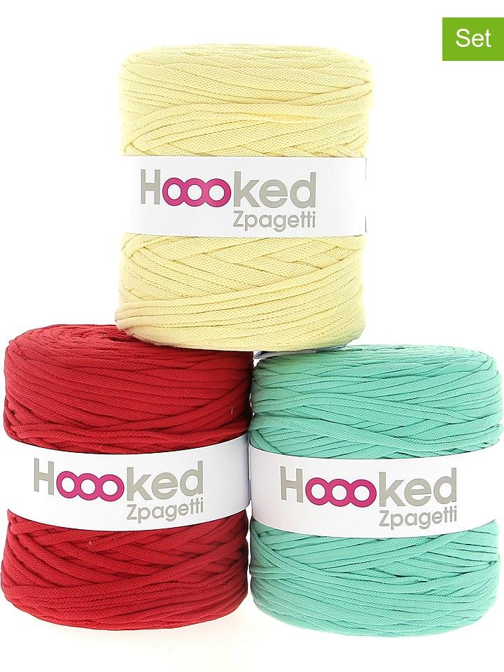 "Hoooked 3er-Set: Textilgarn ""Zpagetti"" in Rot/ Grün/ Gelb"
