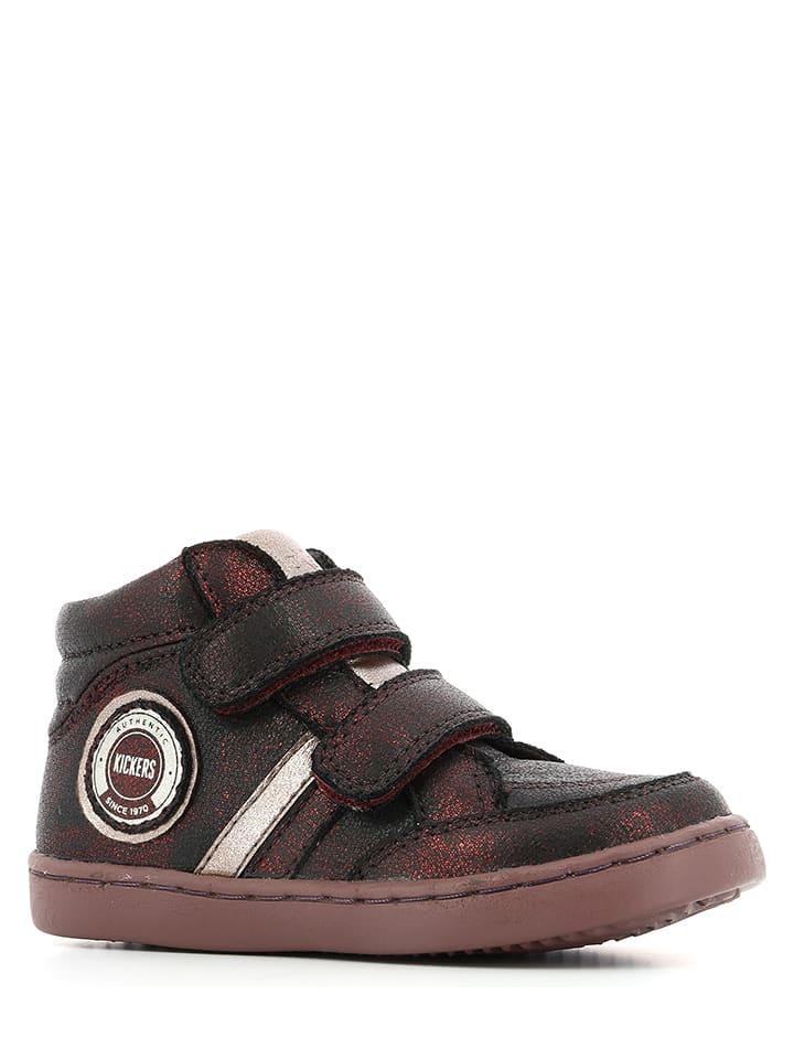 Kickers Skórzane sneakersy w kolorze bordowym