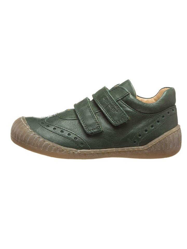POM POM Leder-Sneakers in Dunkelgrün