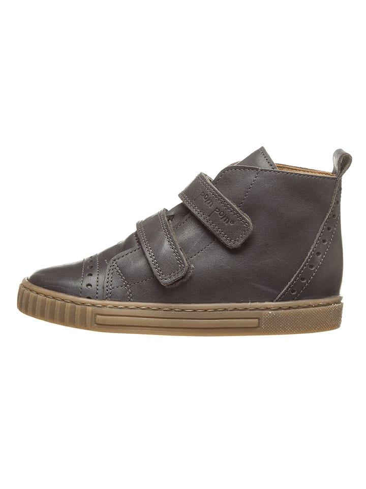 POM POM Skórzane sneakersy w kolorze szarym