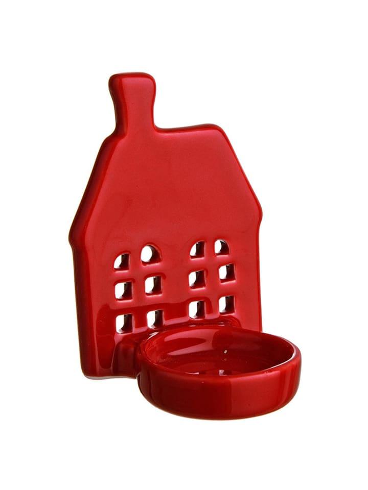 Dom z pomysłem Świecznik w kolorze czerwonym - (S)7,5 x (W)10,1 x (G)6,3 cm