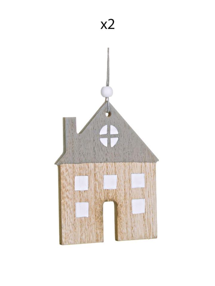 Dom z pomysłem Zawieszka (2 szt.) w kolorze beżowo-szarym - (S)8 x (W)18 x (G)0,50 cm