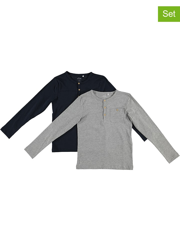 "Name it 2er-Set: Longsleeves ""Valdemar"" in Grau/ Dunkelblau"