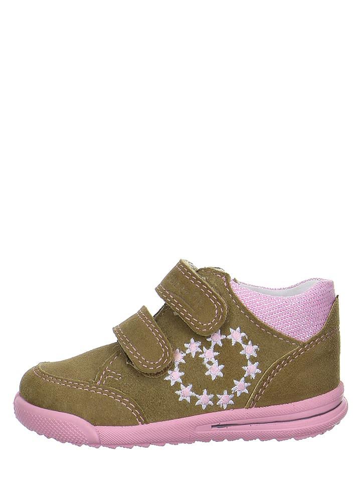 """Superfit Skórzane buty """"Avrile"""" w kolorze beżowo-jasnoróżowym do nauki chodzenia"""