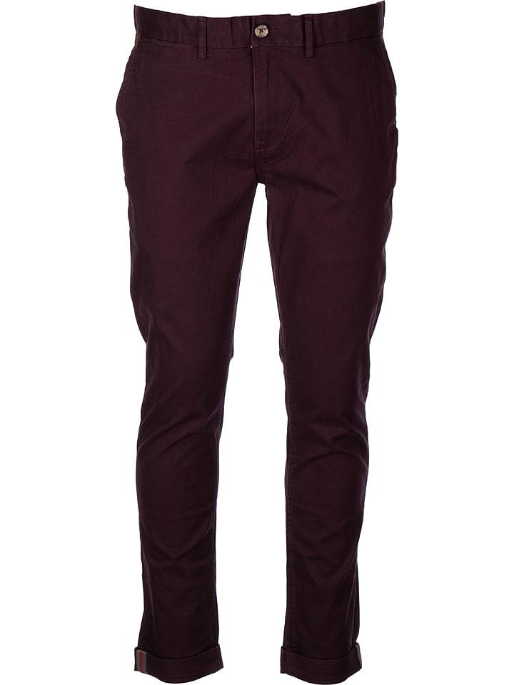 Ben Sherman Spodnie chino w kolorze bordowym