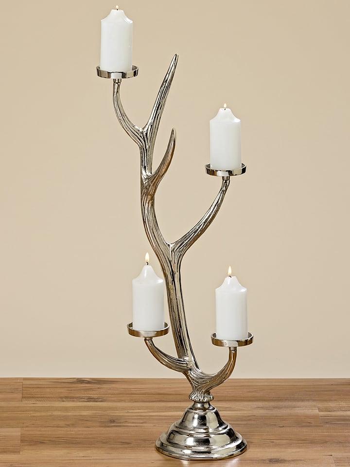 "Boltze Kerzenleuchter ""Geweih"" in Silber - (H)85 cm"