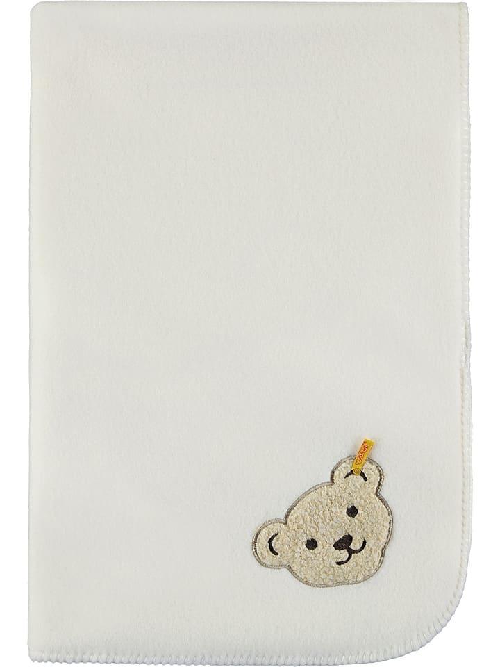 Steiff Koc polarowy w kolorze białym - 95 x 65 cm