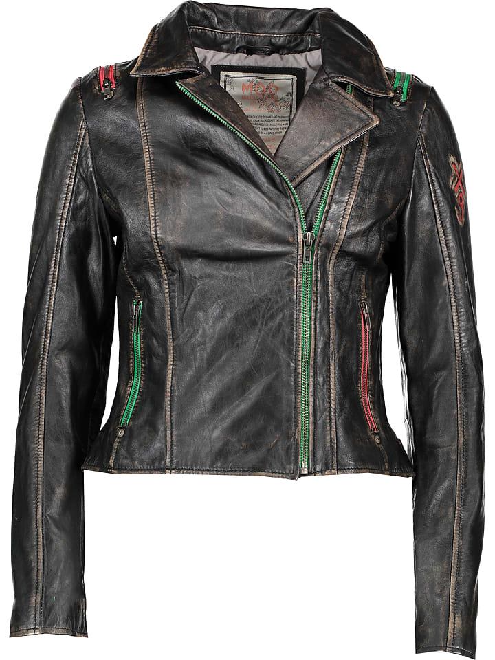 M.O.D Skórzana kurtka w kolorze czarno-beżowym