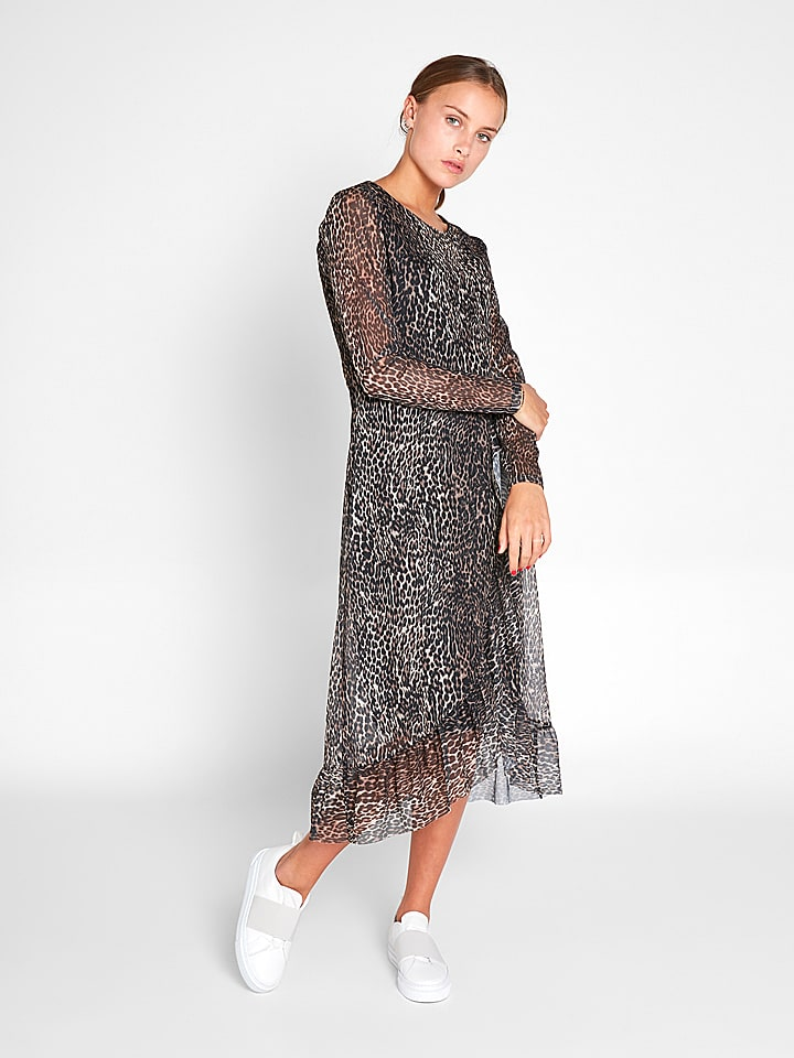 e3c935da28a Pieces - Kleid in Schwarz  Beige