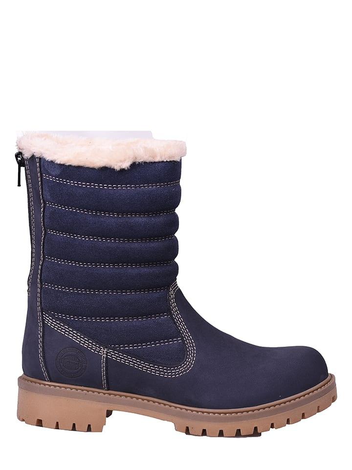 Darkwood Leder-Boots in Dunkelblau